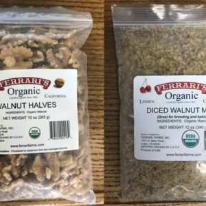 Bags of Raw Organic Chandler Walnut Halves and Meal